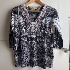 ONE WORLD PETITE Gray White Floral Paisley 3/4 Top